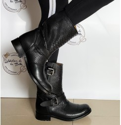 Black leather and snakeskin biker boots