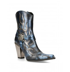 Black and blue leather rock cowboy boots for women