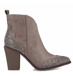 LADIES BEIGE LEATHER ANKLE BOOTS WITH RHINESTONES