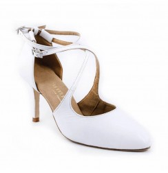 White leather bridal comfort heels
