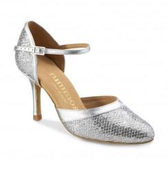 Silver snake effect leather bridal comfort heels