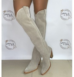 High beige suede cowboy boots for women