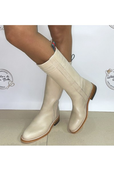 Beige leather cowboy boots for women