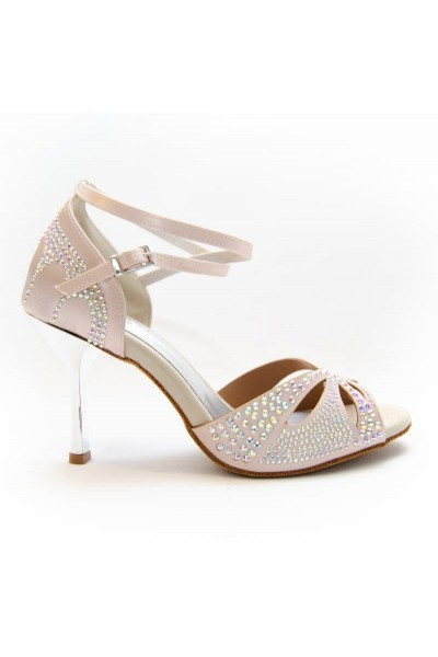 Soft pink satin rhinestone dance shoes