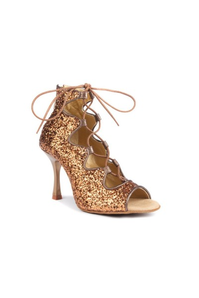 Tan glitter dance boots with lace