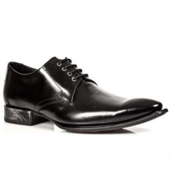 Black leather lace-up formal shoes for men with steel heel