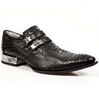 Elegant black snake shoes for men with steel heel