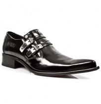 Elegant black leather formal shoes for men with steel buckles