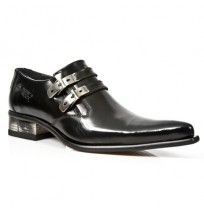 Black leather formal shoes for men with steel buckles and steel heel